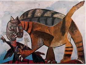 """Mačka i ptica""- Pablo Picasso , travanj 1939."